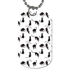Black Cats Pattern Dog Tag (two Sides) by Valentinaart