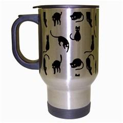 Black Cats Pattern Travel Mug (silver Gray) by Valentinaart