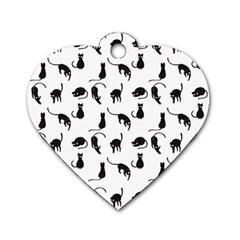 Black Cats Pattern Dog Tag Heart (one Side) by Valentinaart