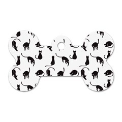 Black Cats Pattern Dog Tag Bone (two Sides) by Valentinaart