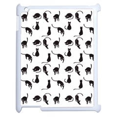 Black Cats Pattern Apple Ipad 2 Case (white) by Valentinaart