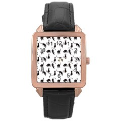 Black Cats Pattern Rose Gold Leather Watch  by Valentinaart