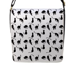 Black Cats Pattern Flap Messenger Bag (l)  by Valentinaart