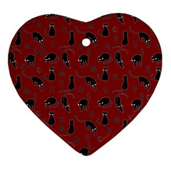 Black Cats And Witch Symbols Pattern Heart Ornament (two Sides) by Valentinaart