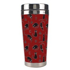 Black Cats And Witch Symbols Pattern Stainless Steel Travel Tumblers by Valentinaart