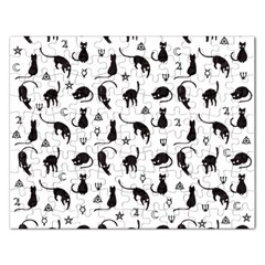 Black Cats And Witch Symbols Pattern Rectangular Jigsaw Puzzl by Valentinaart
