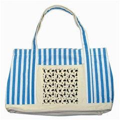 Black Cats And Witch Symbols Pattern Striped Blue Tote Bag by Valentinaart