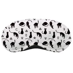 Black Cats And Witch Symbols Pattern Sleeping Masks by Valentinaart