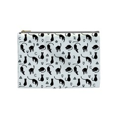 Black Cats And Witch Symbols Pattern Cosmetic Bag (medium)  by Valentinaart