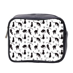 Black Cats And Witch Symbols Pattern Mini Toiletries Bag 2 Side by Valentinaart