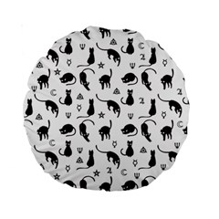 Black Cats And Witch Symbols Pattern Standard 15  Premium Round Cushions by Valentinaart