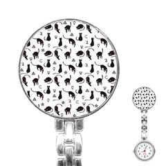 Black Cats And Witch Symbols Pattern Stainless Steel Nurses Watch by Valentinaart