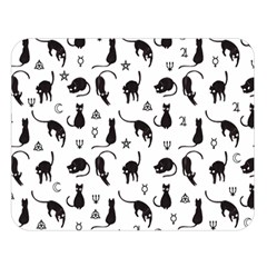 Black Cats And Witch Symbols Pattern Double Sided Flano Blanket (large)  by Valentinaart