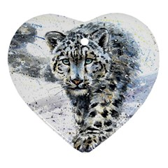 Snow Leopard Heart Ornament (two Sides) by kostart