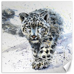 Snow Leopard Canvas 12  X 12   by kostart