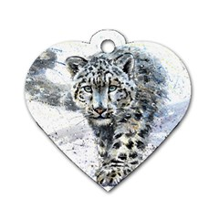 Snow Leopard Dog Tag Heart (one Side) by kostart