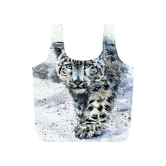 Snow Leopard Full Print Recycle Bags (s)  by kostart