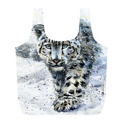 Snow Leopard Full Print Recycle Bags (l)  by kostart