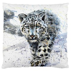 Snow Leopard Large Flano Cushion Case (one Side) by kostart