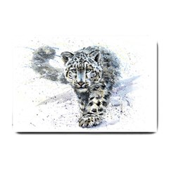 Snow Leopard  Small Doormat  by kostart
