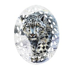 Snow Leopard  Oval Filigree Ornament (two Sides) by kostart