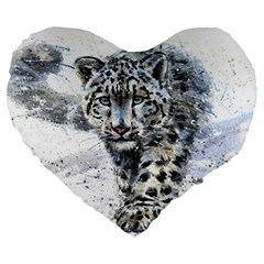 Snow Leopard  Large 19  Premium Heart Shape Cushions by kostart