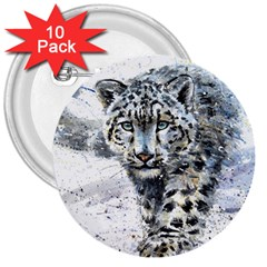 Snow Leopard  3  Buttons (10 Pack)  by kostart