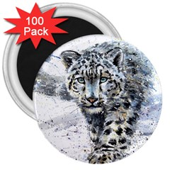 Snow Leopard  3  Magnets (100 Pack) by kostart