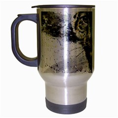 Snow Leopard  Travel Mug (silver Gray) by kostart