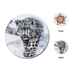 Snow Leopard  Playing Cards (round)  by kostart