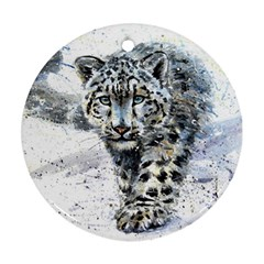 Snow Leopard  Round Ornament (two Sides) by kostart