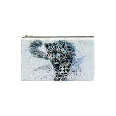 Snow Leopard  Cosmetic Bag (small)  by kostart