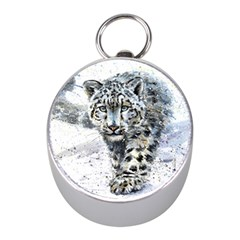Snow Leopard  Mini Silver Compasses by kostart