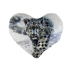 Snow Leopard  Standard 16  Premium Flano Heart Shape Cushions by kostart