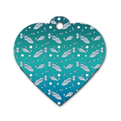 Under The Sea Paisley Dog Tag Heart (two Sides) by emilyzragz