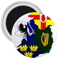 Flag Map Of Provinces Of Ireland 3  Magnets by abbeyz71