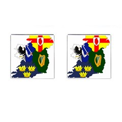 Flag Map Of Provinces Of Ireland Cufflinks (square) by abbeyz71