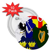 Flag Map Of Provinces Of Ireland  2 25  Buttons (10 Pack)  by abbeyz71