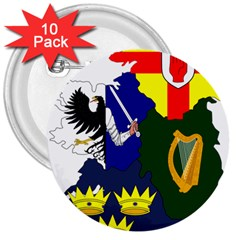 Flag Map Of Provinces Of Ireland  3  Buttons (10 Pack)  by abbeyz71