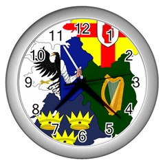 Flag Map Of Provinces Of Ireland  Wall Clocks (silver)  by abbeyz71