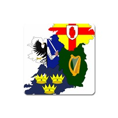 Flag Map Of Provinces Of Ireland  Square Magnet by abbeyz71