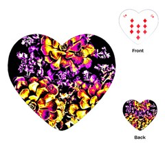 Purple Yellow Flower Plant Playing Cards (heart)  by Costasonlineshop