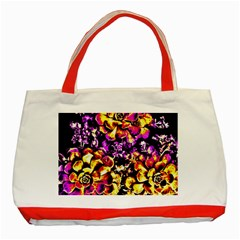 Purple Yellow Flower Plant Classic Tote Bag (red) by Costasonlineshop