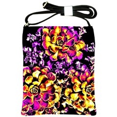 Purple Yellow Flower Plant Shoulder Sling Bags