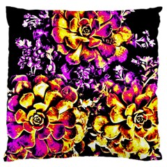 Purple Yellow Flower Plant Large Cushion Case (one Side) by Costasonlineshop
