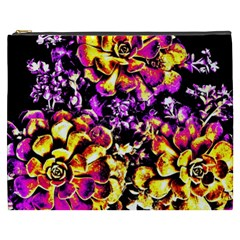 Purple Yellow Flower Plant Cosmetic Bag (xxxl)