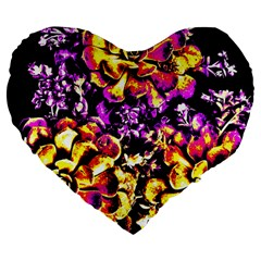 Purple Yellow Flower Plant Large 19  Premium Flano Heart Shape Cushions