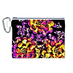 Purple Yellow Flower Plant Canvas Cosmetic Bag (l) by Costasonlineshop