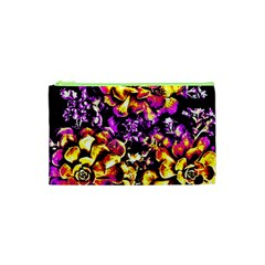Purple Yellow Flower Plant Cosmetic Bag (xs) by Costasonlineshop