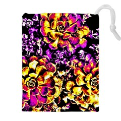 Purple Yellow Flower Plant Drawstring Pouches (xxl)